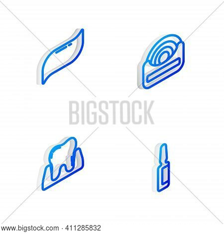 Set Isometric Line Dental Floss, Toothpaste, And Painkiller Tablet Icon. Vector