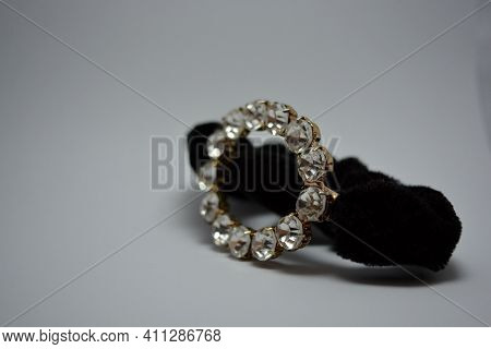 Beautiful, Stylish Female Hairpin, Hair Accessory, Black Hair Tie With Large White Stones. Metal Cir