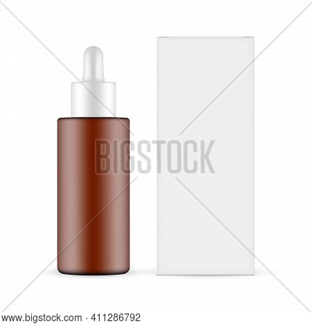 Plastic Frosted Amber Dropper Bottle With Paper Box Mockup, Front View, Isolated On White Background