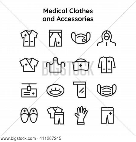 Collection Of Icons Of Medical Uniforms Clothing And Accessories For Nurses, Doctors, Laboratory Ass