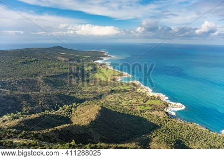 Landscape Of Akamas Peninsula National Park, Cyprus. Tourist Resort With Beaches And Blue Lagoons