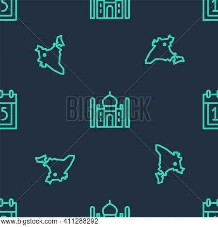 Set Line Taj Mahal, India Map And Independence Day On Seamless Pattern. Vector