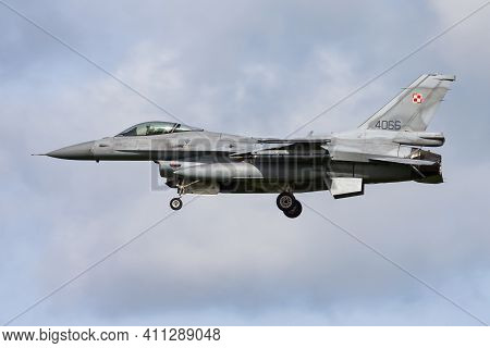 Leeuwarden, Netherlands - April 13, 2015: Polish Air Force Lockheed Martin F-16c Fighting Falcon 406