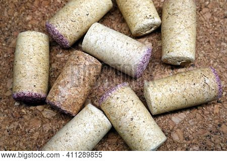 Still Life With Come Wine Corks On Cork Background Top View Close Up