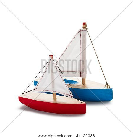 Red And Blue Toy Sailboat