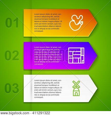 Set Line Spanish Wineskin, House Edificio Mirador, Windmill And Dali Museum. Business Infographic Te