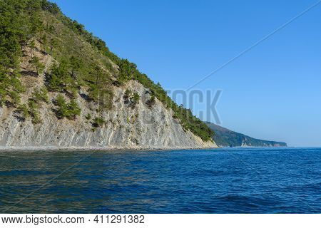 View Of The Steep Wooded Shore From The Sea