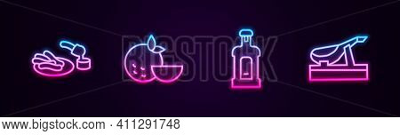 Set Line Churros And Chocolate, Orange Fruit, Orujo And Spanish Jamon. Glowing Neon Icon. Vector