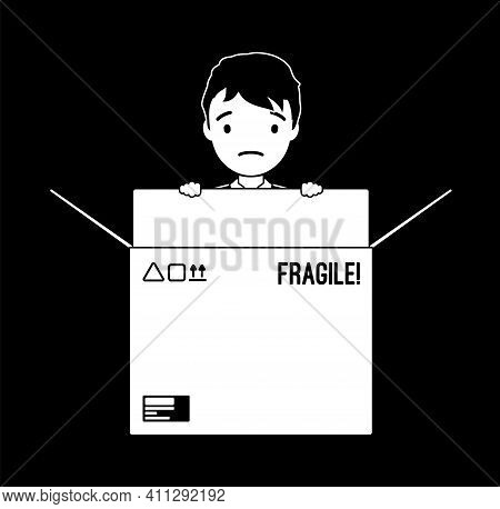 Inside The Box, Child Of Standard, Normal Or Average Thinking. Little Boy Hiding In A Cardboard, Met