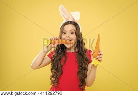 Spring Tradition. Child Yellow Background. Easter Holidays Are Coming Up. Healthy Food. Child Bunny