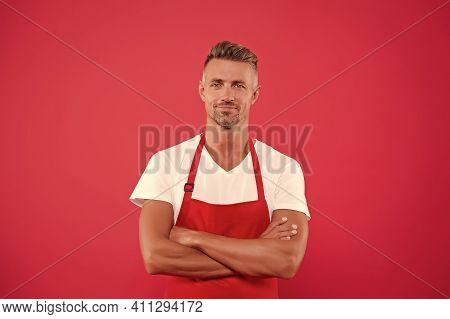 Cook Good Food At Home. Mature Barista. Restaurant Staff. Hipster Professional Apron Uniform. Waiter