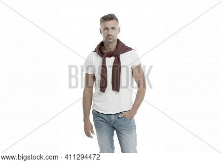 Menswear And Fashionable Clothing. Daily Outfit. Man Model Clothes Shop. Man Looks Handsome In Casua