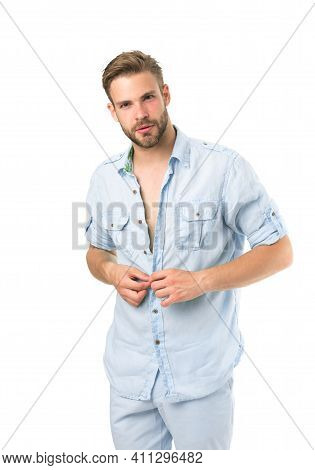 It Is Hot Here. Man Handsome Bearded Guy Undressing White Background Isolated. Guy Confident Attract