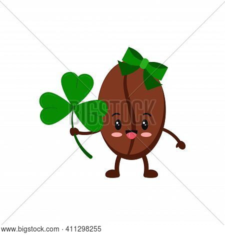 St Patrick Day Coffee Bean Girl With Hair Bow Icon Isolated On White Background. Coffee Grain Charac