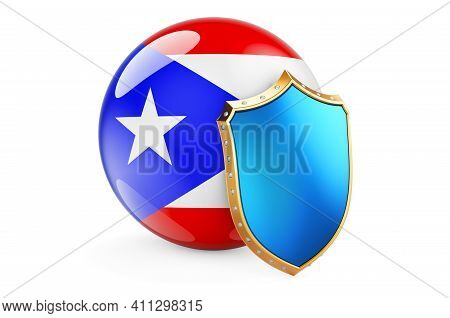 Puerto Rican Flag With Shield. Protect Of Puerto Rico Concept, 3d Rendering Isolated On White Backgr