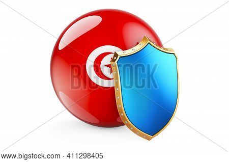 Tunisian Flag With Shield. Protect Of Tunisia Concept, 3d Rendering Isolated On White Background