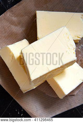 Fresh Farm Butter On Parchment. Homemade Butter.