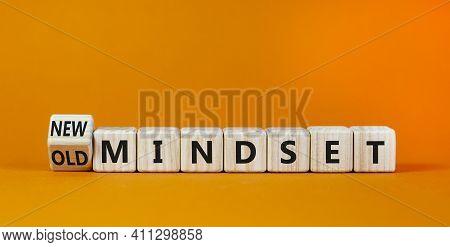 New Vs Old Mindset Symbol. Turned The Wooden Cube And Changed Words 'old Mindset' To 'new Mindset'.