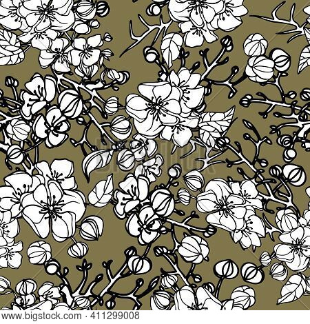 Vector Hand Drawn Repeat Pattern With White Roses On Khaky Background. Illustration Of Beautiful Flo