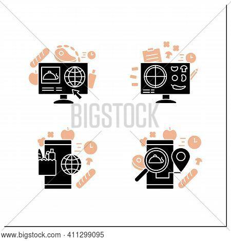 Online Food Glyph Icons Set. Dark Store, Pizza Constructor Online, Food Map, Shopping. Shopping Appl