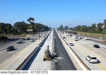 IRVINE, CALIFORNIA - FEBRUARY 6, 2018: 405 Freeway widening project. Caltrans is making the improvement to the freeway between Jamboree Road and Sand Canyon Avenue.