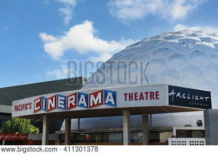 HOLLYWOOD, CALIFORNIA - 10 NOV 2020: ArcLight Hollywood is a 15-screen multiplex at the iconic Cinerama Dome on Sunset boulevard.