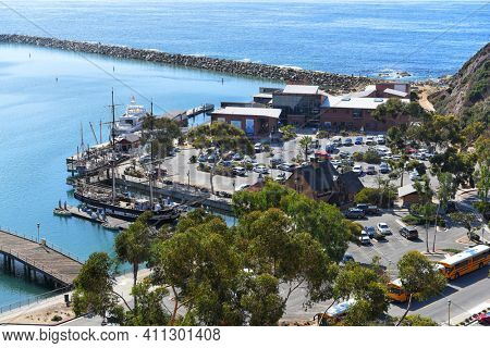 DANA POINT, CALIFORNIA - 18 OCT 2019: The Ocean Institute and Dana Point Harbor seen from the bluffs.