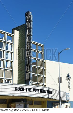 HOLLYWOOD, CALIFORNIA - 10 NOV 2020:  Closeup of the Marquee and sign at The Hollywood Palladium, a theater built in the Streamline Moderne, Art Deco style.