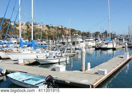 DANA POINT, CA - NOVEMBER 4, 2016: Boats in their slips at Dana Point Harbor, Orange County, California