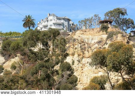 DANA POINT, CA - NOVEMBER 4, 2016: The Blue Lantern Inn and Gazebo on the bluffs overlooking the Dana Point Harbor, California.