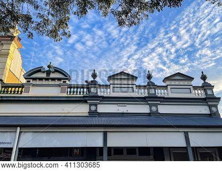Childers, Australia - February 28, 2021: Beautiful Architecture Of The Shops In The Picturesque Town