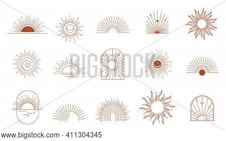 Bohemian Linear Logos, Icons And Symbols, Sun, Arc, Window Design Templates, Geometric Abstract Desi