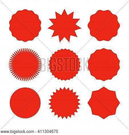 Starburst Promo Red Sticker Shape Vector Sale Splash. Starburst Round Badge Promo Sticker