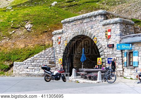 Austria - July 28, 2020: Hochtor Pass Tunnel - The Highest Point Of The Grossglockner High Alpine Ro