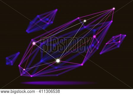 Dimensional Lattice Mesh Vector Abstraction, 3d Polygonal Design Abstract Shape, Tech And Science Di