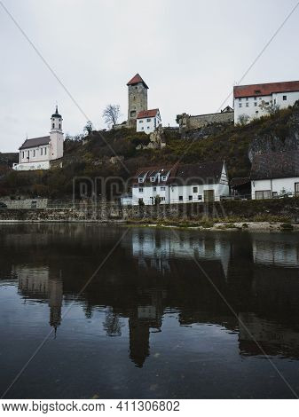 Panorama Danube River Reflection View Of Medieval Ruins Historic Castle Tower Burg Rechtenstein Alb
