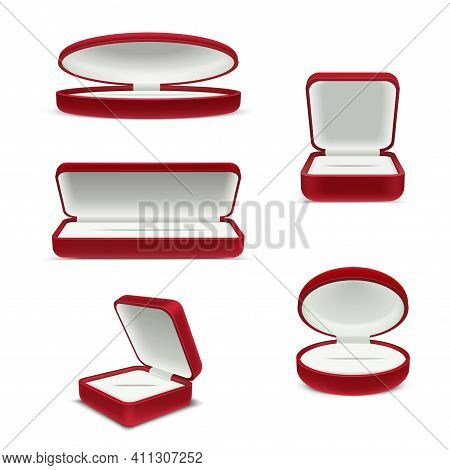 Set Luxury Red Velvet Opened Gift Jewelry Boxes Classic Compact Package For Accessories Bijouterie