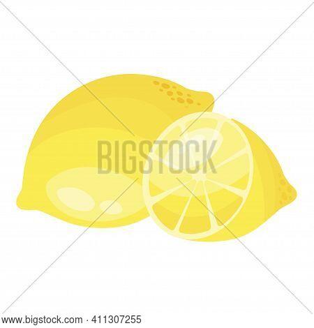 Fresh Appetizing Yellow Cut Half Whole Natural Lemon Citrus Vitamin Tropical Summer Seasonal Fruit