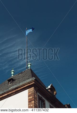 Low Angle View Of Waving Tall European Flag - The Council Of Europe And The European Union As A Symb
