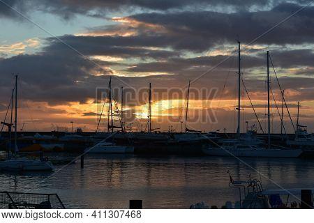 Beautiful Daybreak In The Harbor Of Ponta Delgada In Sao Miguel.