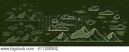Mountains Range Linear Vector Illustration On Dark, Line Art Drawing Of Mountain Peaks Wilderness Wa