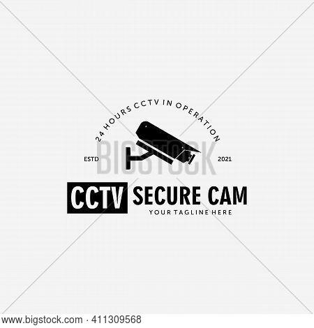 Cctv Secure Cam Logo Vector Design Vintage Illustration, Surveillance Protection, Cctv Guard