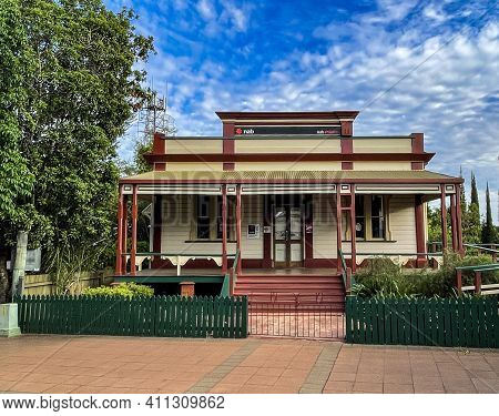 Childers, Australia - February 28, 2021: Facade Of The Former Bank Of North Queensland, Built In 190
