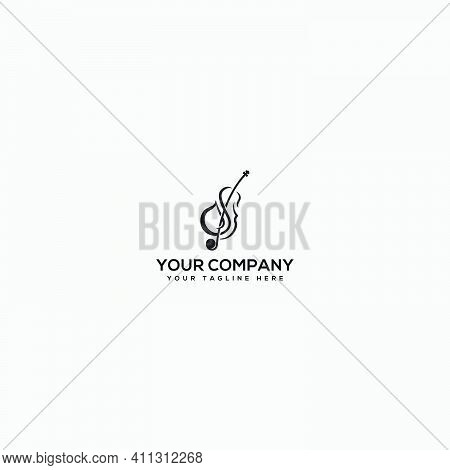 Biola Instrument Logo, Jazz Logo, Violin Logo Design, Letter S And Violin