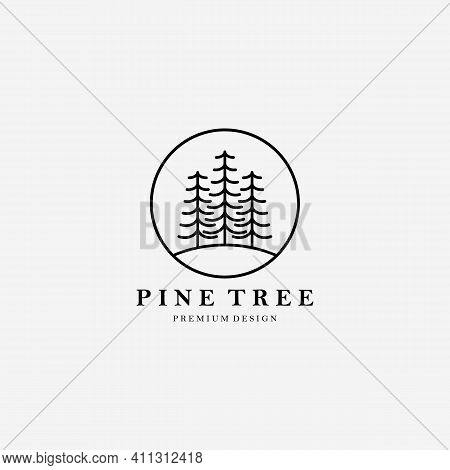 Simple Line Art Pine Tree Logo Vector Illustration Design Linear, Minimalist Tree, Minimal Of Tree L
