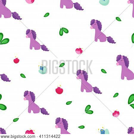 Seamless Baby Background With Fairy Purple Ponies