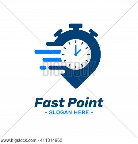 Fast Point Logo Design Template. Pin Marker Icon With Timer Combination. Symbol Concept Of Delivery,