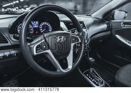 Novosibirsk, Russia - March 03 2021: Hyundai Solaris, Steering Wheel With  Logo    And  Speedometer
