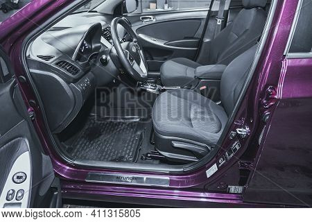 Novosibirsk, Russia - March 03 2021: Hyundai Solaris, Interior Of New Modern Suv Car With Automatic