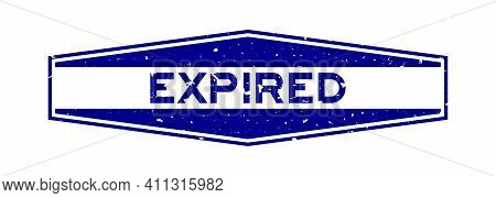 Grunge Blue Expired Word Hexagon Rubber Seal Stamp On White Background
